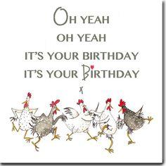 Oh ja Oh yeah wenskaart grappige kip Card kip door SarahBoddyUK