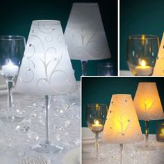 Swirl Print Vellum Lamp Shades for Stemware,  Set of 12