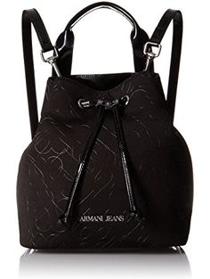 Armani Jeans Quilted Heart Design Neoprene Bucket Bag with Shoulder Strap,  Black Anthracite ❤ Armani Jeans d8bdd7be00