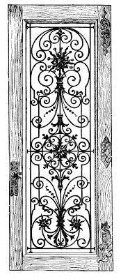 Stock Image - Fancy Iron and Wood Door - The Graphics Fairy , the scroll work is beautiful.