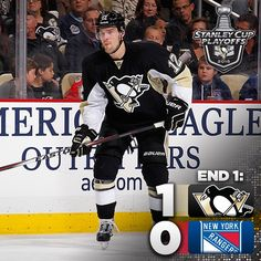 End 1: #Pens lead the Rangers 1-0. Patric Hornqvist with the Penguins goal.