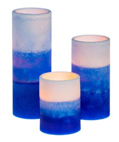 Loving this Blue Battery Operated Flameless LED Pillar Candle - Set of Three on #zulily! #zulilyfinds