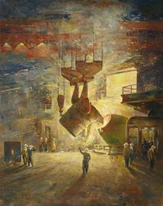 Margam, Port Talbot, South Wales,- Bessemer Process Plant, Abbey Works, Margam by Charles Ernest Cundall