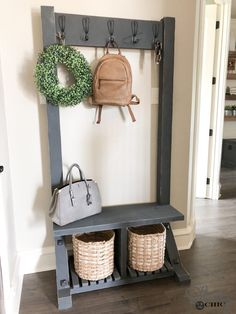 We are always looking for ways to create extra storage spots that are not only functional but beautiful! We have designed this DIY Modern Farmhouse Hall Farmhouse Furniture, Furniture Plans, Farmhouse Decor, Modern Farmhouse, Country Furniture, Furniture Design, Furniture Stores, Hall Furniture, Diy Furniture Easy