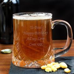 Cut crystal half pint tankard  Personalise the tankard with any message over 4 lines and up to 20 characters per line.  Ideal for Wedding, Fathers Day, Birthday