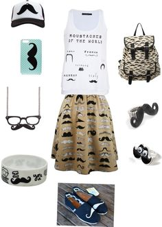 """""""mustache"""" by skeeborocks ❤ liked on Polyvore - love it! ... just not all together!"""
