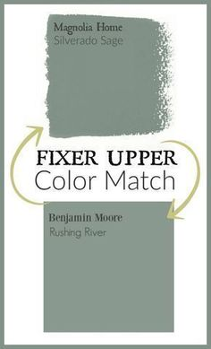 Upper Paint Colors: Magnolia Home Paint Color Matched to Benjamin Moore Fixer Upper Paint color matched to Benjamin Moore paint.Fixer Upper Paint color matched to Benjamin Moore paint. Fixer Upper Paint Colors, Matching Paint Colors, Green Paint Colors, Interior Paint Colors, Paint Colors For Home, Interior Painting, Interior Design, Outside House Paint Colors, Cabin Paint Colors