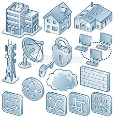 Network Diagram Component Icons 3 Network Architecture, Information Design, Pictogram, Free Vector Art, Manual, Diagram, Icons, Illustration, Shapes