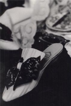 """""""À Deux"""" in cream cotton - double bow in cream satin & black Chantilly lace http://store.leschaussonsdelabelle.com"""