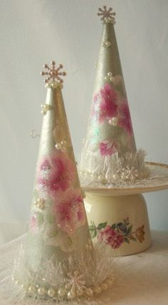 Shabby Pale GREEN Cone Christmas Tree Hand Made by RoseChicFriends,