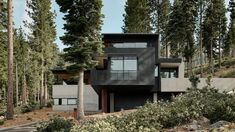 Around the central path and the ramp, the house is built as blocky volumes formed from thick concrete walls reaching a black steel roof at different heights. Concrete is pared with steel in order to be both resilient to fire and low maintenance. Concrete Houses, Concrete Walls, Truckee California, Unique Buildings, Black Exterior, Black House, Luxury Homes, Skiing, Minimalist