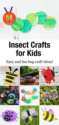 Discover easy and fun insect crafts that are perfect for summer camp, garden or insect-themed birthday parties, or just as a relaxing, crafty way to bond with your child at home. Arts And Crafts For Kids Easy, Creative Activities For Kids, Animal Crafts For Kids, Spring Crafts For Kids, Summer Crafts, Creative Ideas, Insect Crafts, Bug Crafts, Preschool Crafts