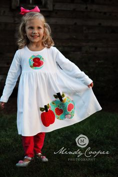 Fall Applique Dress - Toddler Dress or Girls Dress- Personalized Dress with Apple Appliques -Choose Dress Color and Sleeve Length