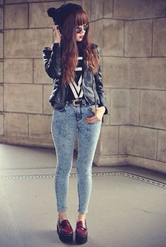 Acid jeans and leather jacket