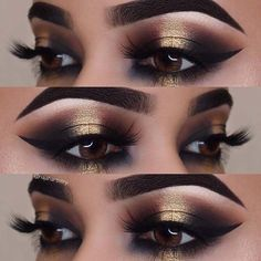 Black and Gold Smokey Eye Idea for Brown Eyes