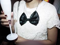 Lace Shirt and Black Bow