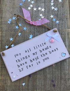 £6.00 ~ wooden plaque ~ hanging plaque ~ baby girl ~ birth ~ new baby ~ pink ~ quote. visit us on facebook for more