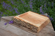 Live Edge Red Oak Rustic Tray  Wood Tray  Custom by FaustWoodworks