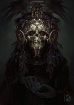 aztec voodoo demon, Kostya P!ngWIN Chernianu on ArtStation at https://www.artstation.com/artwork/ROzVE