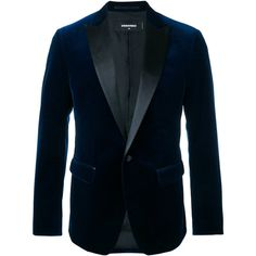 Dsquared2 - velvet jacket with leather lapel - men -... ($1,635) ❤ liked on Polyvore featuring men's fashion, men's clothing, men's outerwear, men's jackets, blue, mens blue jacket, mens velvet jacket, mens blue velvet jacket and mens silk jacket