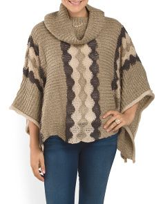 image of Wool Blend Printed Cowl Neck Poncho