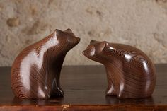 A Pair of Carved Wooden Brown Bears, Bear Sculpture Statue Wenge Wood by Perry Lancaster