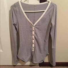 RARE Lululemon striped awesome Henley Super soft material. Love it so much just too big. Size 4, but could fit a 6. :) cheaper on ♏️ercari. Please check out my ISO's to see if you have anything! Thanks! lululemon athletica Tops Tees - Long Sleeve