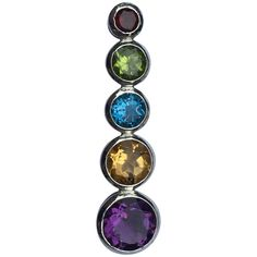 For Sale on - Natural stones Red Garnet 4 MM, Peridot 7 MM, Blue Topaz 7 MM, Citrine 9 MM and 11 MM Amethyst set in sterling silver. Hand crafted one of a kind pendant. Unique Necklaces, Silver Necklaces, Sterling Silver Chains, Sterling Silver Pendants, Handmade Jewelry Box, Pendant Set, Gemstone Colors, Stone Pendants, Amethyst