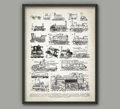Vintage Steam Locomotives Poster  Classic Steam by QuantumPrints
