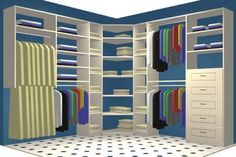 Expedit shelving in a walk-in closet is a cheap alternative to custom closets. Description from pinterest.com. I searched for this on bing.com/images