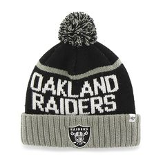 huge discount c7738 79f68 Oakland Raiders Linesman Cuff Knit Black 47 Brand Beanie Hat