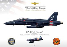 """UNITED STATES NAVY VFA-204 """"River Rattlers"""" Reserve Tactical Support Wing Naval Air Station Joint Reserve Base New Orleans Painted as a Navy Reserve Aircraft - Circa 1950"""