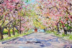 "Isabelle Haran Leonardi's March 14, 2015 cover for Dan's Papers was ""Arshamomaque Pond, in Southold,"" with wintry trees arching over a central path, perspective guiding the eye back to a glimpse of blue water. This week's cover, a similar scene, ""Cherry Trees, 5th Street, Greenport"" nicely jumps into the season with flowering pink limbs that fold gently toward center, and reflects once again Leonardi's love for ""tunneled"" compositions."