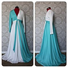 Vintage 1970's Fred Perlberg White and Turquoise Gown by pursuingandie, $135.00
