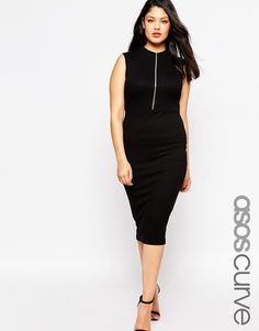 Image 1 of ASOS CURVE Body-Conscious Dress With High Neck & Zip Front