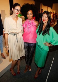 Marissa Webb (L-R) Creative Director and President of J. Crew Jenna Lyons, singer Solange Knowles, and J. Crew Head Designer Marissa Webb attend the J.Crew Spring 2012 fashion show during Mercedes-Benz Fashion Week at The Stage at Lincoln Center on September 13, 2011 in New York City.