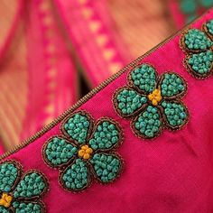 Try with small beads in middle n elongated beads as border Hand Embroidery Dress, Kurti Embroidery Design, Hand Embroidery Videos, Bead Embroidery Patterns, Flower Embroidery Designs, Embroidered Blouse, Cutwork Blouse Designs, Simple Blouse Designs, Saree Blouse Neck Designs