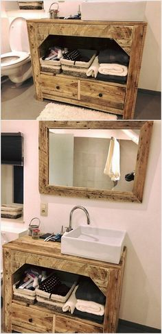 Wood Pallet Bathroom Mirror and Cabinet