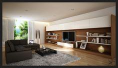 Огромный стеллаж во всю стену в интерьере минималистичной гостиной.