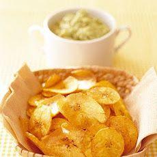 Banana Avocado Dip with Plantain Chips Recipe. Intriguing.