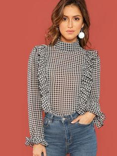 Shein Black And White Casual Ruffle Detail Mock-Neck Plaid Long Sleeve Blouse Autumn Office Lady Fashion Women Tops And Blouses Office Fashion Women, Work Fashion, Fashion Outfits, Textiles Y Moda, Mode Ootd, White Casual, Casual Tops, Business Casual Dresses, Plaid Outfits