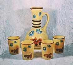 Victorian Bristol Glass Pitcher And Tumblers, Opaque Caramel Coloured Glass, Antique Glass With Enamel Overlay Wood Owls, Chocolate Color, Glass Pitchers, Caramel Color, Antique Glass, Vintage Wood, Colored Glass, Bristol, Overlays