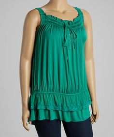 Emerald Peasant Tank - Plus #zulily #zulilyfinds