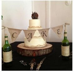 Burlap Wedding Cake with Bunting