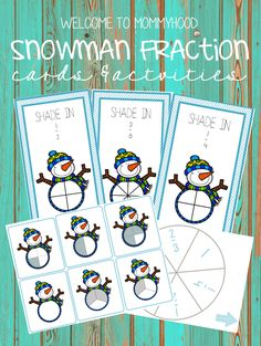 Snowman Fraction Cards & Activities (free; from Welcome to Mommyhood)