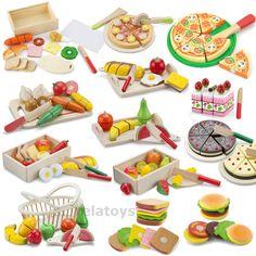 Lebensmittel Sets Holz zum Schneiden Zubehör Kinderküche Spielküche Kaufladen in Spielzeug, Kleinkindspielzeug, Küchen & Zubehör | eBay