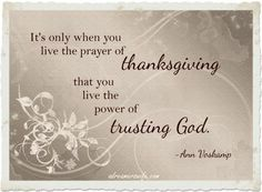 Ann Voskamp quote about thanksgiving and trusting God