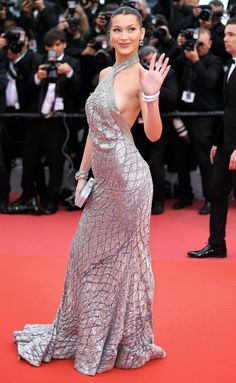 Bella Hadid in a silver Elie Saab Haute Couture gown