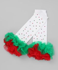 Take a look at this White, Green & Red Bling Ruffle Leg Warmers by Born 4 Couture on #zulily today!