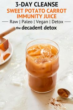 Healthy Recipes : Illustration Description This carrot and sweet potato juice from The Decadent Detox Spring Juice Fast is delicious. This immunity juice is a detox disguised as dessert. Perfect for a healthy, fall beverage, too! Detox Diet Drinks, Detox Juice Recipes, Natural Detox Drinks, Detox Juices, Cleanse Detox, Juice Cleanse, Cleanse Recipes, Health Cleanse, Alkaline Recipes